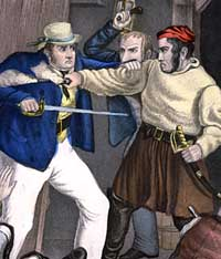 Coloured lithograph of smugglers attacked by revenue men