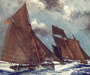 A revenue cruiser chases a smuggling lugger. From a painting by Charles Dixon