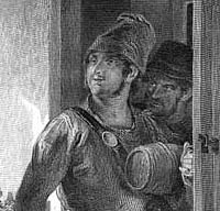 Engraving of a smuggler laden with barrels
