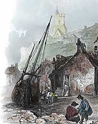 Coloured engraving of Folkestone harbour in 1836, from Finden's Ports and Harbours of GB