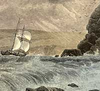 Engraving of a ship approaching Fowey harbour