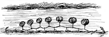 Illustration of a method of hiding tubs of spirits below  the sea's surface.