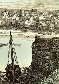 Engraving of Lerwick harbour
