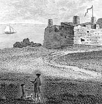 Engraving of Lundy Island and castle