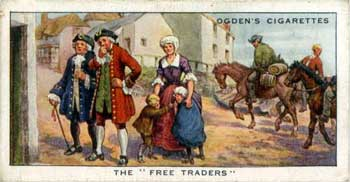 Ogden's cigarette card of people ignoring smugglers