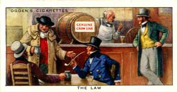 Ogden's cigarette card of a publican selling contraband brandy