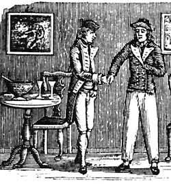 Wood engraving by Thomas Bewick of smuggler being paid