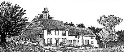 Engraving of the Red Lion at Rake by Charles G Harper