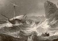 Engraving of a shipwreck