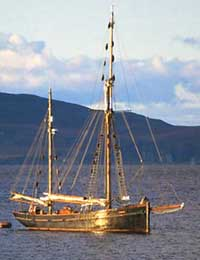 Wooden sailing ship in the Hebrides