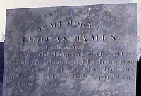 Photograph  of  the tombstone of the fisherman of Mylor who was shot by customs men in 1814