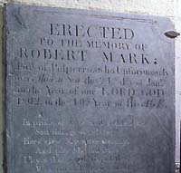 Photograph of Robert Mark's tombstone in Talland church