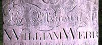 Photograph of the tombstone of William Webb in the churchyard of St Mary the Virgin, Old Hunstanton